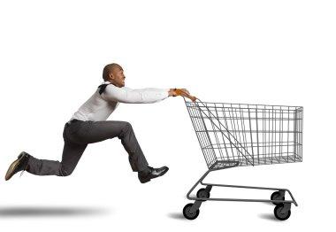 man runs to go shopping