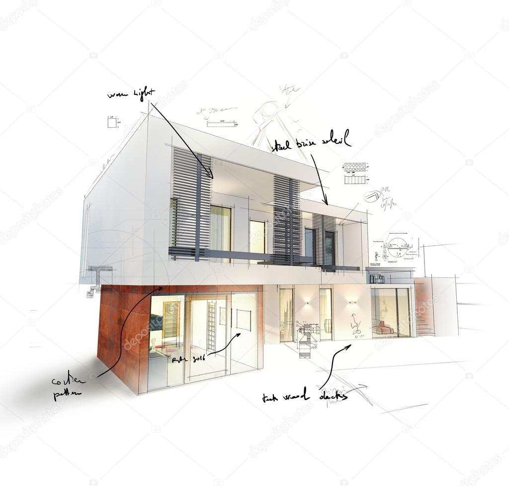 Progetto di una casa moderna foto stock alphaspirit for Progetto casa moderna nuova costruzione