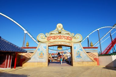 PORT AVENTURA, SPAIN - MAY 26: The Shambhala rollercoaster in Port Aventura theme park in May 26, 2015 in Salou, Spain. It is the highest rollercoaster in Europe with 76m.
