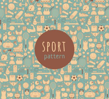 Doodle sports elements. Vector illustration