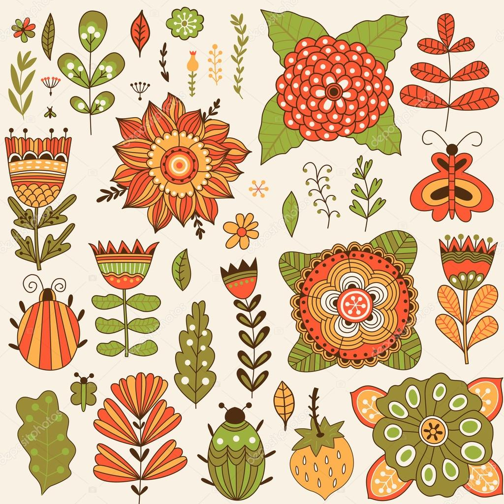 Graphic collection with leaves, herbs, bugs, butterflies and flowers
