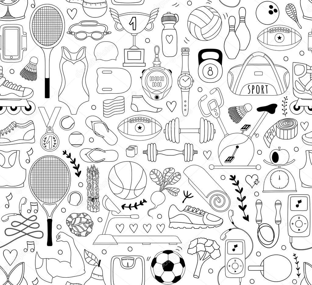 Doodle sports elements. Vector illustration