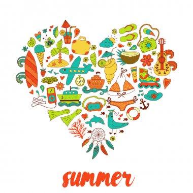 Summer heart design made of doodle season elements