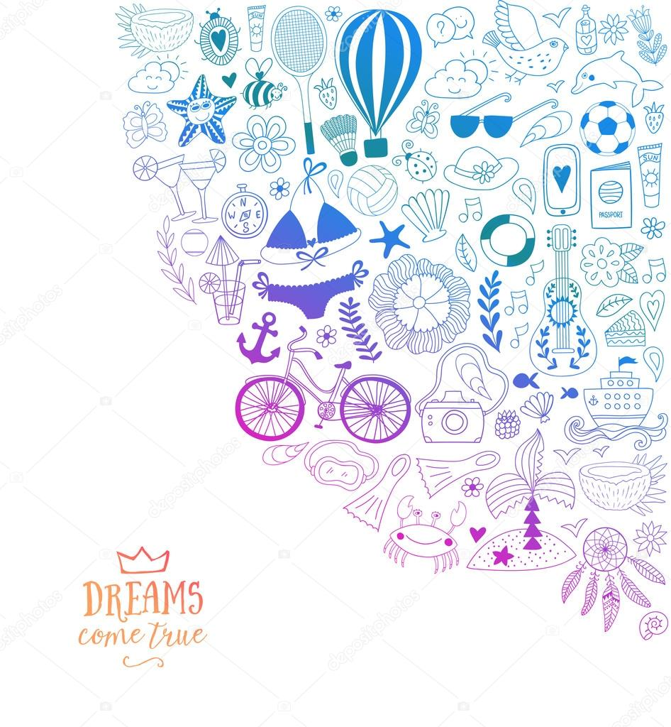 summer beach hand drawn vector travel vacation doodle elements