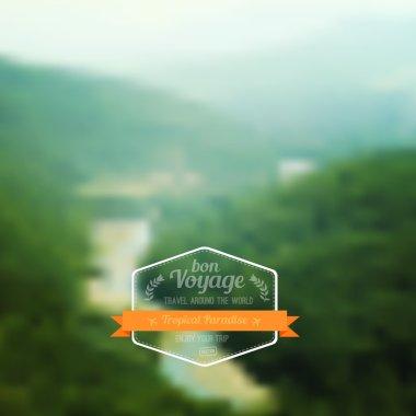 Vector blurred landscape, travel badge, voyage label, nature vie