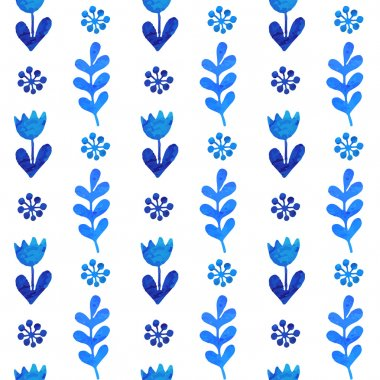 White and blue flower ornament greeting card