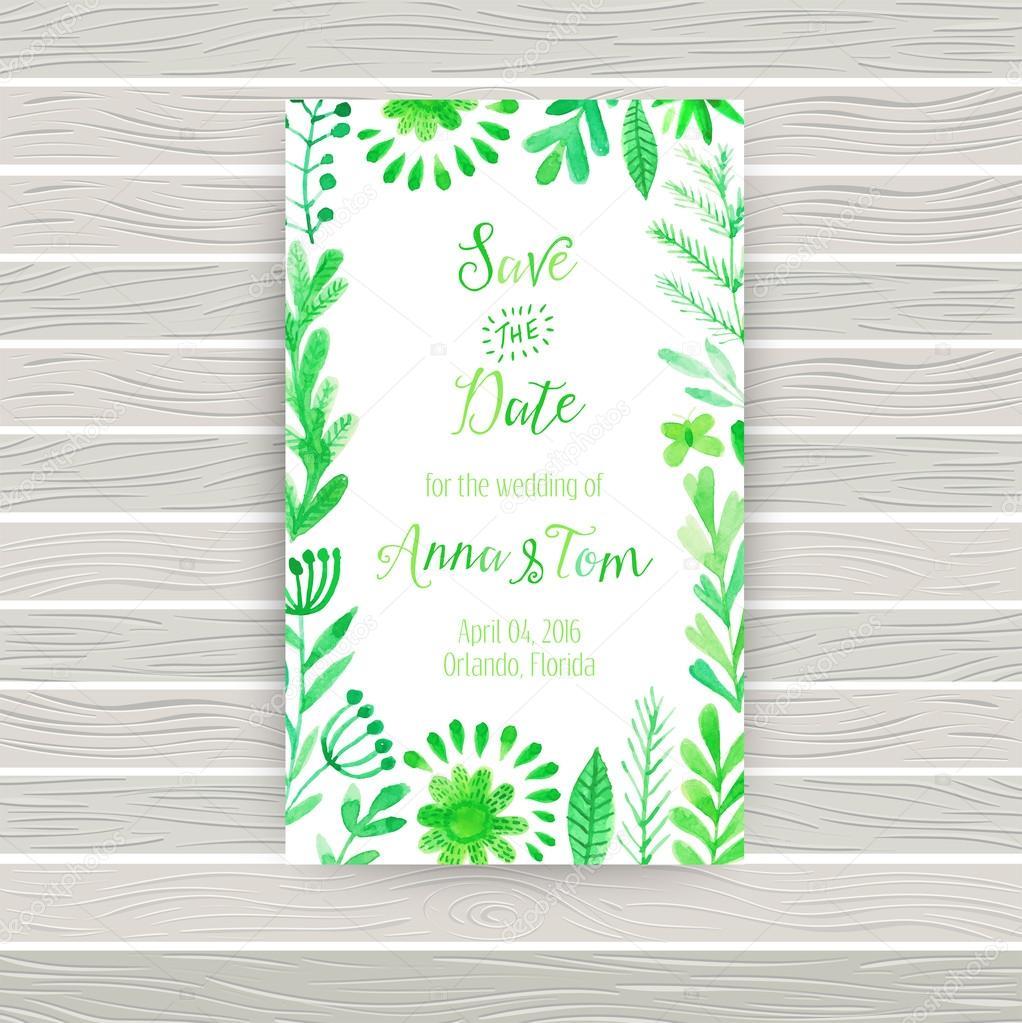 Carto de convite aquarela vector com flores e plantas vetor de depositphotos55964015 stock illustration vector watercolor invitation card withg stopboris Gallery