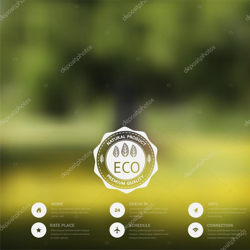 Vector blurred landscape, eco badge