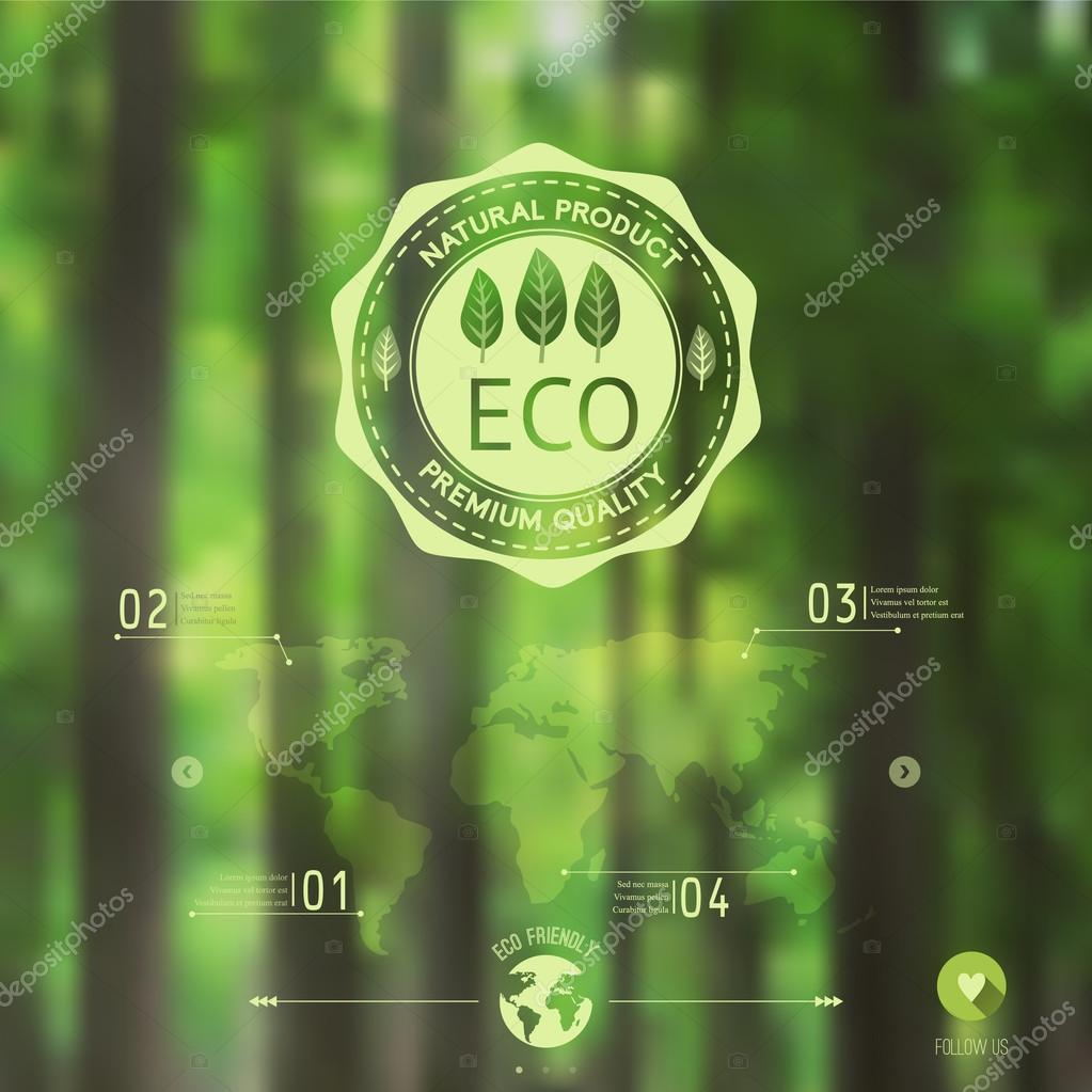 Vector blurred landscape, forest, eco badge, ecology label, natu