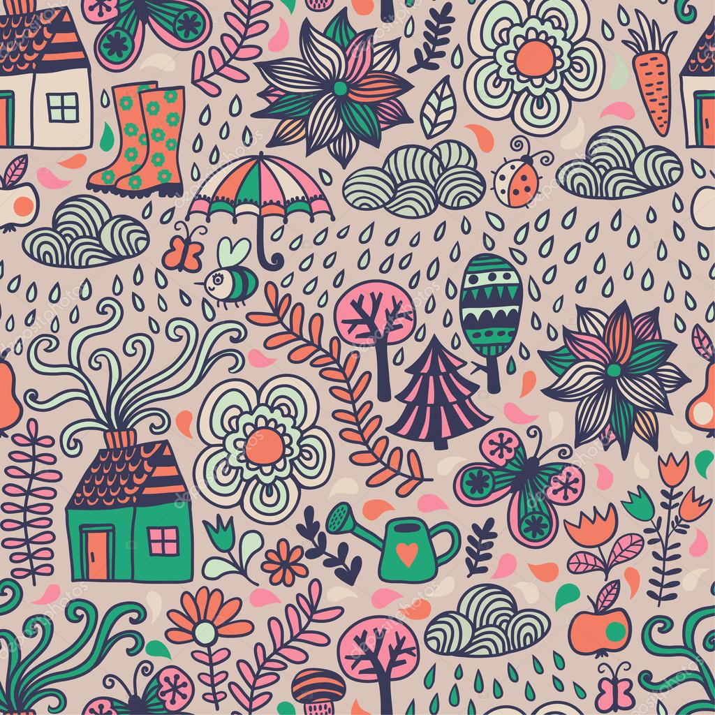 Vector seamless pattern, autumn doodles card.