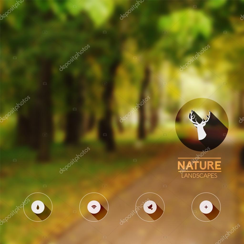 Vector blurred landscape, forest