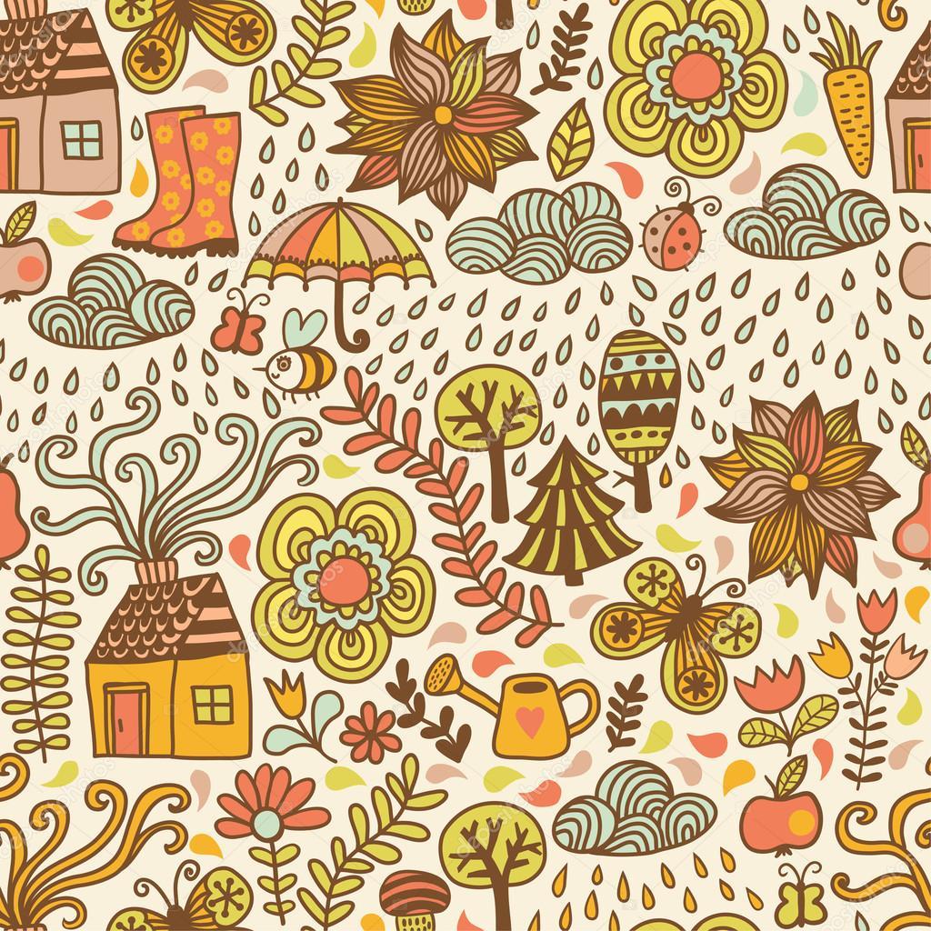 Autumn doodles card.