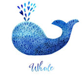 Whale made of blue flower ornament