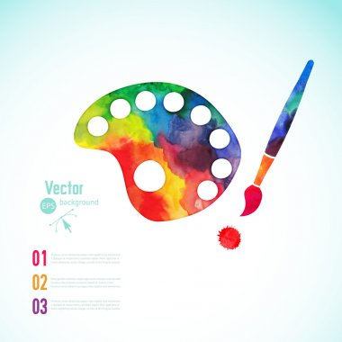 Paint brush with palette icon vector,  art palette with eight colors, vector illustration, art palette with paints and brushe stock vector
