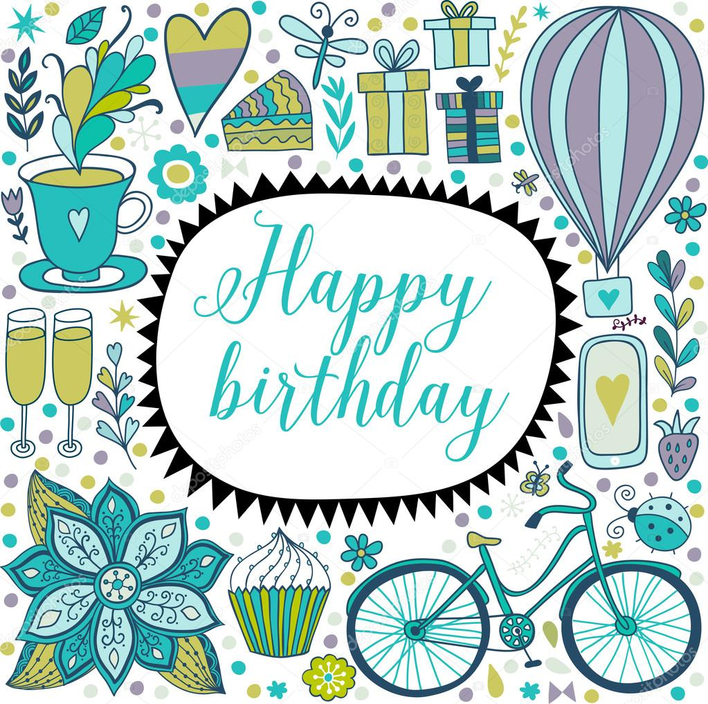 happy birthday floral frame u2014 stock vector markovka 66995345