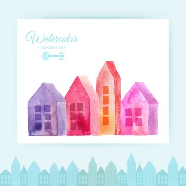 colorful Watercolor houses
