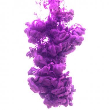 purple ink cloud swirling in water