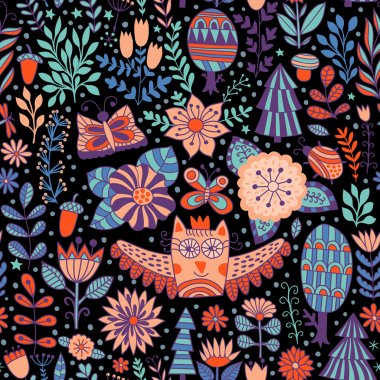floral seamless pattern with owl