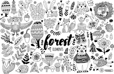 forest elements in childish style