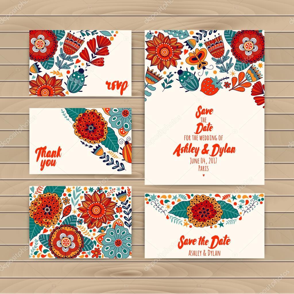 Wedding Invitation Template, invitation, envelope, thank you card,