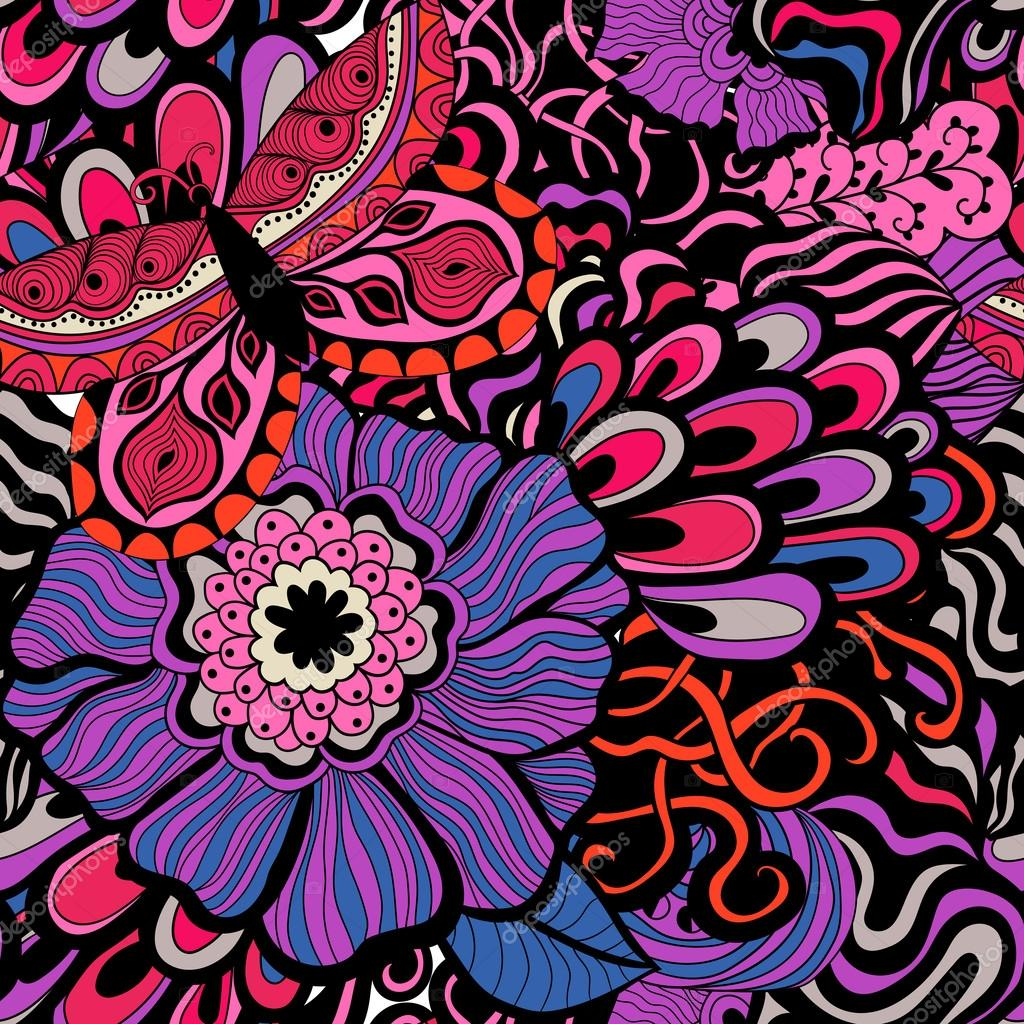 Colorful vivid vector seamless abstract hand-drawn pattern