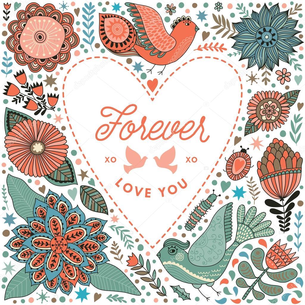 Marco de corazón floral de flores — Vector de stock © markovka #97681998