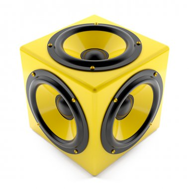 Yellow sound speakers