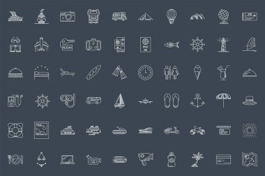 Travel Thin Line Related Icons Set on Black Background. Summer Holidays, Vacation and Travel. Simple Mono Linear Pictogram Pack Stroke Vector logo Concept for Web. Editable Stroke. 48x48 Pixel Perfect icon