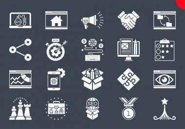 SEO Glyph Icons Set. SEO Related Vector Glyph Icons. Website and APP Design and Development. Simple Glyph Pictogram Pack. Stroke Vector Logo Concept, Web Graphic. Vector icons. Editable Stroke. icon