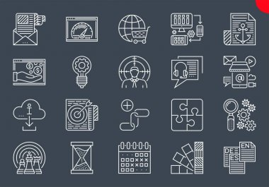 SEO Line Icons Set. SEO Related Vector Line Icons. Website and APP Design and Development. Simple Mono Line Pictogram Pack. Stroke Vector Logo Concept, Web Graphic. Vector icons. Editable Stroke. icon