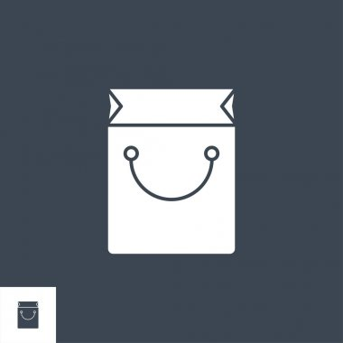 Shopping Bag related vector glyph icon. Isolated on black background. Vector illustration. icon