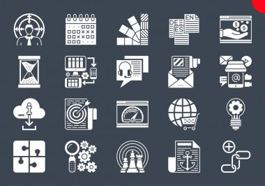 SEO Glyph Icons Set. SEO Related Vector Glyph Icons. Website and APP Design and Development. Simple Glyph Pictogram Pack. Stroke Vector Logo Concept, Web Graphic. Vector icons. icon
