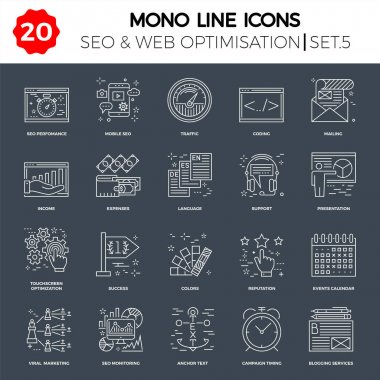 Thin Line Icons Set of Search Engine Optimization, Website and APP Design and Development. Simple Mono Line Pictogram Pack. Stroke Vector Logo Concept, Web Graphic. Vector icons. icon
