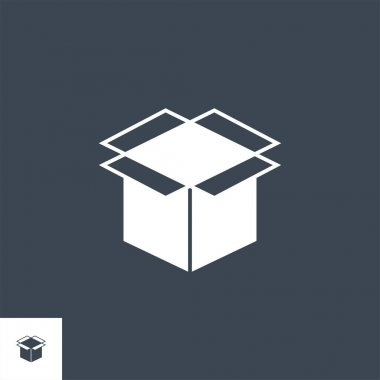 Box Related Vector Glyph Icon. Isolated on Black Background. Vector Illustration. icon