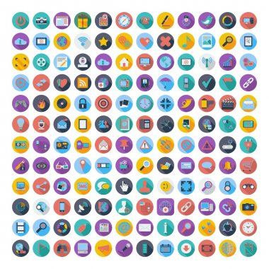 Social media and network color flat icons.