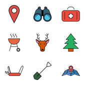 Camping flach Vektor Icon-set