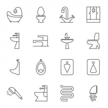 Sanitary engineering flat vector icon set