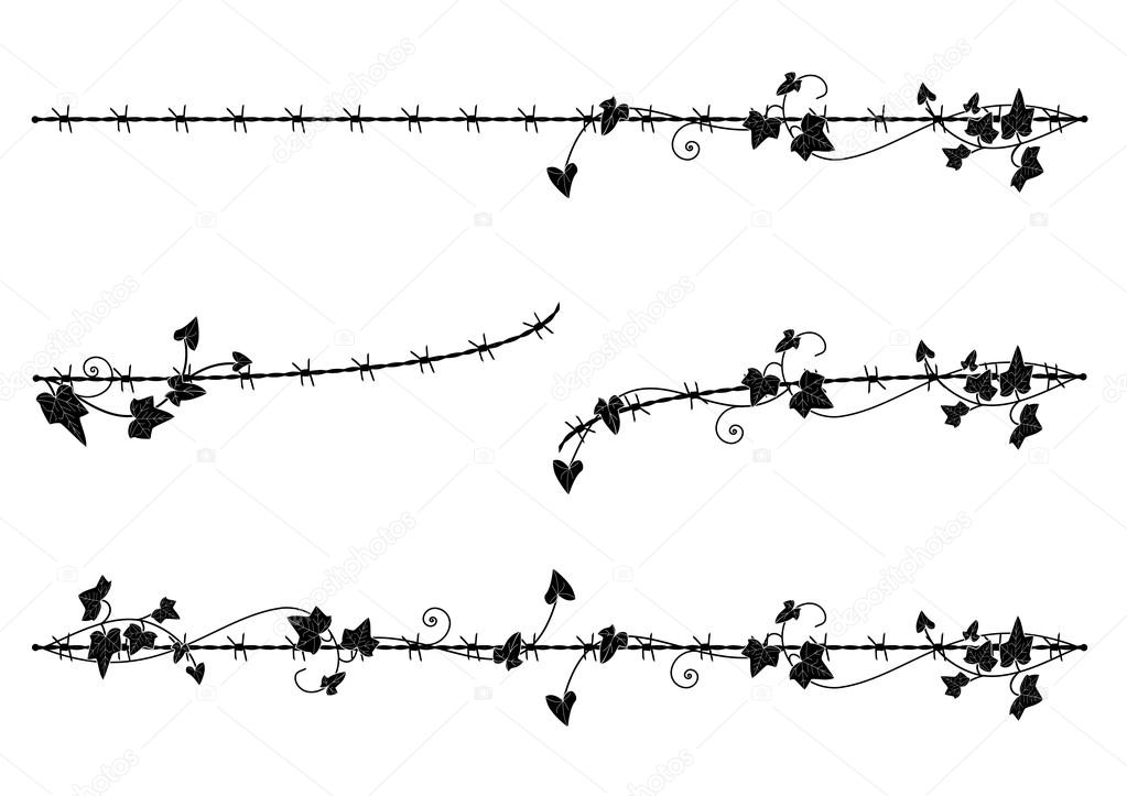 ivy border with barbed wire — Stock Vector © tanais #90750034