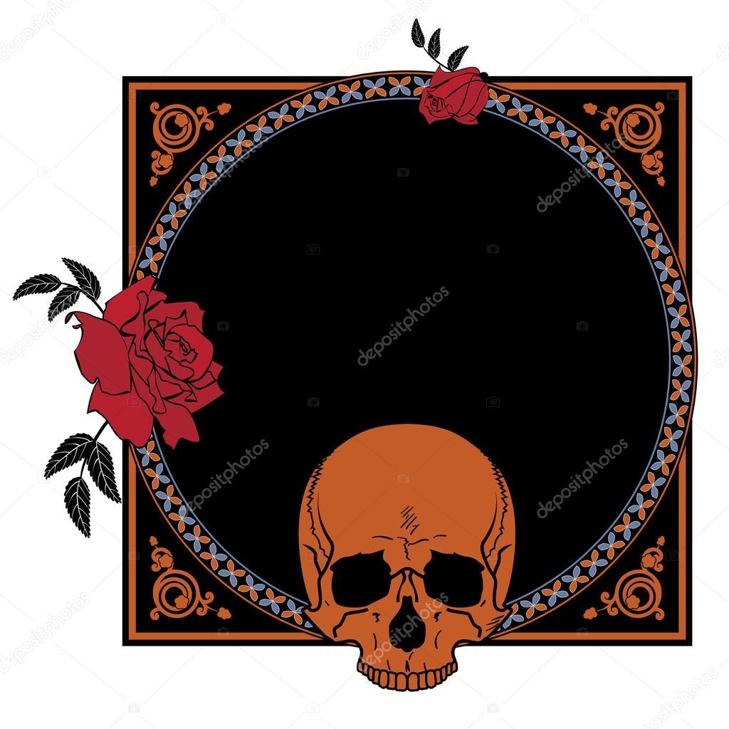 marco con rosas y cráneo — Vector de stock © tanais #90750042