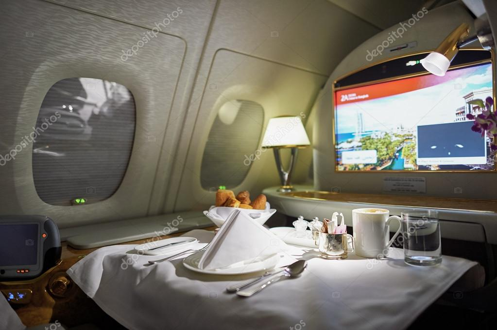Inside of emirates airbus a380 stock editorial photo for First class 8 interieur