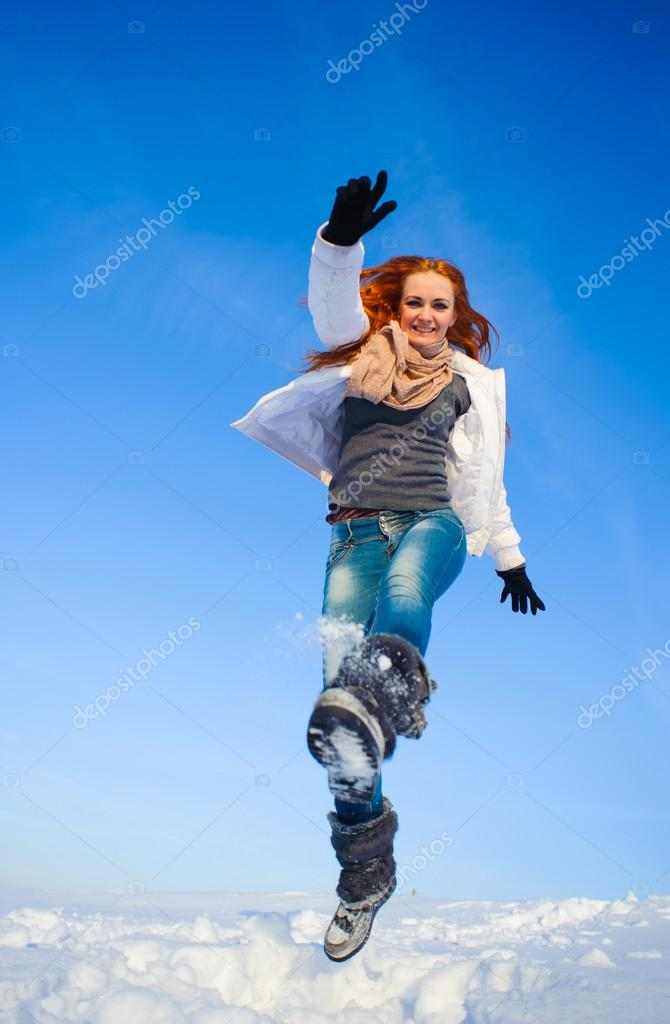 Woman on the snow field