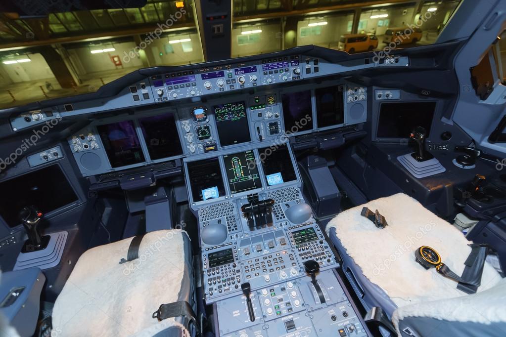 Emiraten airbus a380 vliegtuig cockpit interieur for Interieur airbus a380