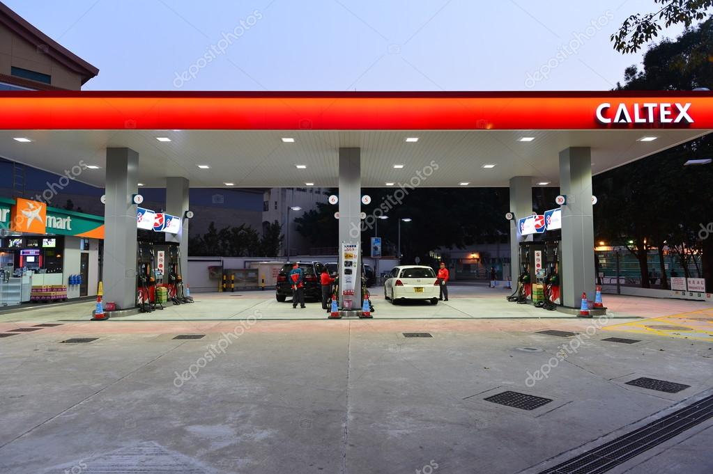 Caltex fuel station at evening