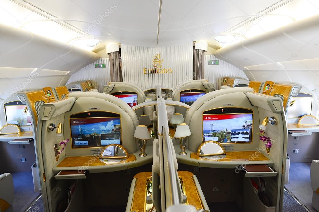 emirates airbus a380 interior stock editorial photo