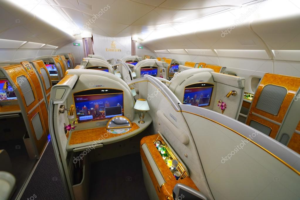 bangkok thailand march 31 2015 emirates airbus a380 interior emirates is one of two flag carriers of the united arab emirates along with etihad