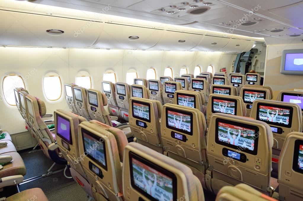 Emiraten Airbus A380 vliegtuigen interieur – Redactionele stockfoto ...