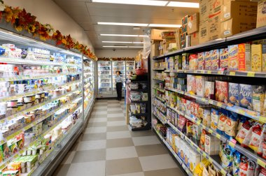 Interior of the food supermarket