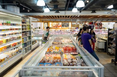 Interior of the food supermarket