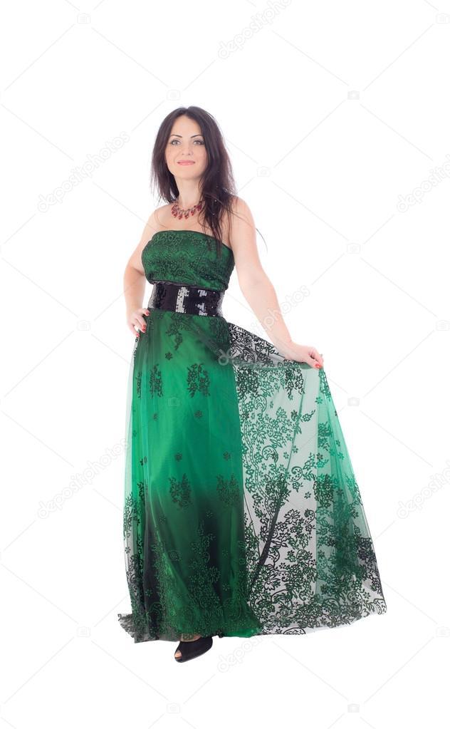 on sale 0c64c b8dc3 Donna elegante in un abito verde — Foto Stock © Argument ...