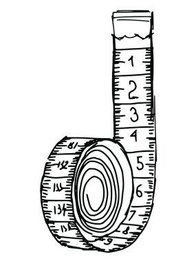 Hand drawn, sketch illustration of measuring tape clip art vector